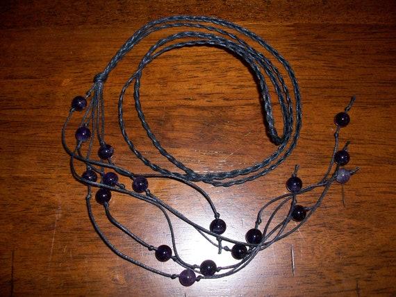 Amethyst Braided Lariat Necklace