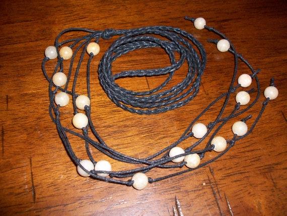 Yellow Honey Jade Braided Lariat Necklace
