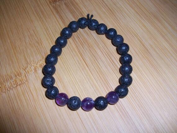 Black Lava Stone and Amethyst 8mm Gemstone Stretch Diffuser Bracelet