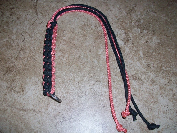 Coral and Black 15 inch Flogger Whip