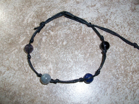 Psychic Powers Stackable Knotted Bracelet ~ Amethyst, Labradorite, Lapis Lazuli and Rainbow Obsidian