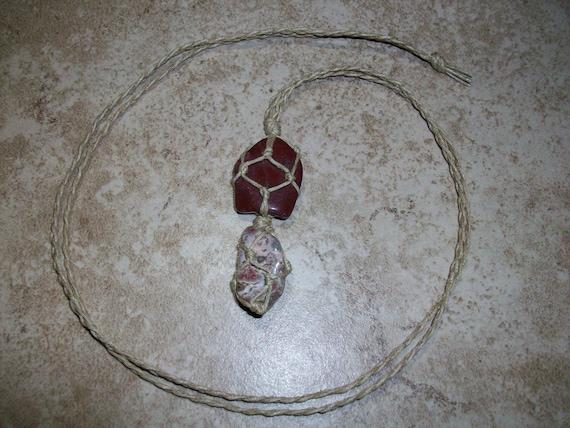 Red Jasper and Leopardskin Jasper Braided Necklace