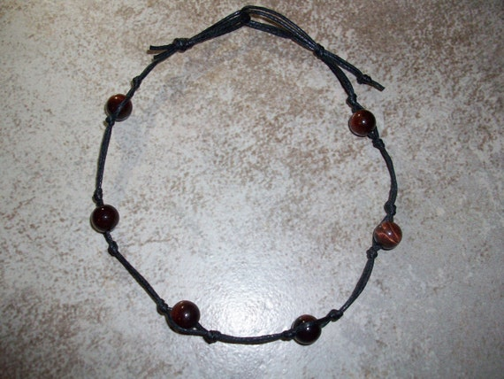 Red Tiger's Eye Stackable Knotted Anklet