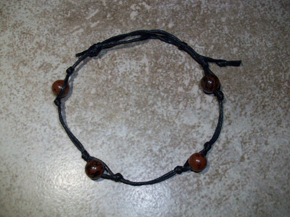 Mahogany Obsidian Stackable Knotted Bracelet