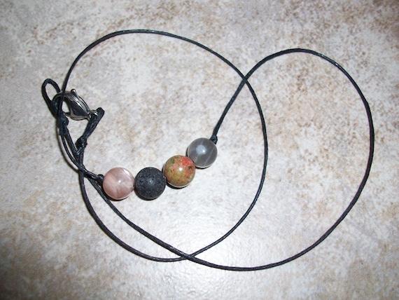Fertility 8mm Gemstone Bead Choker Style Necklace ~ Peach Moonstone, Black Lava Stone, Unakite and Black Moonstone