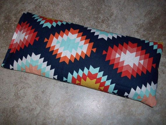 Lavender and Flax Seed Dark Blue and Orange Pattern Fabric Aromatherapy Eye Pillow