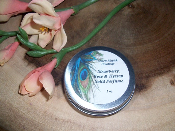 Strawberry, Rose and Hyssop Solid Perfume 1 oz