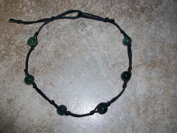 Moss Agate Stackable Knotted Anklet