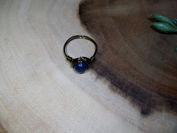 Lapis Lazuli 8mm Antique Bronze Color Wire Wrapped Ring