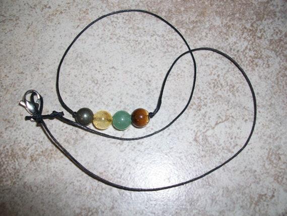 Prosperity and Abundance 8mm Gemstone Bead Choker Style Necklace ~ Pyrite, Citrine, Green Aventurine and Tiger's Eye