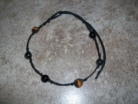 Triple Protection 8mm Stackable Knotted Anklet ~ Tiger's Eye, Hematite and Black Tourmaline