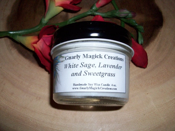 Handmade White Sage, Lavender and Sweetgrass 4 oz Jar Candle