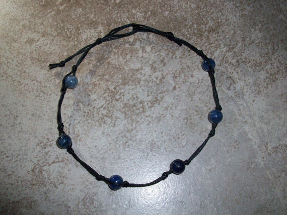 Dumortierite Stackable Knotted Anklet