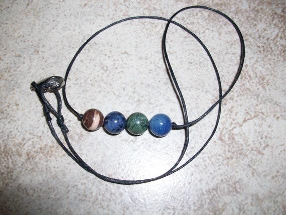 Calm the Soul 8mm Gemstone Bead Choker Style Necklace ~ Brown Striped Jasper, Sodalite, Kambaba Jasper and Blue Aventurine