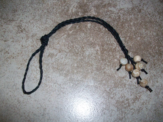 Natural Mother of Pearl 8mm Braided Gemstone Bead Hair Tie
