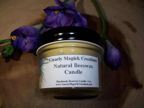 Handmade Natural Beeswax 4 oz Jar Candle