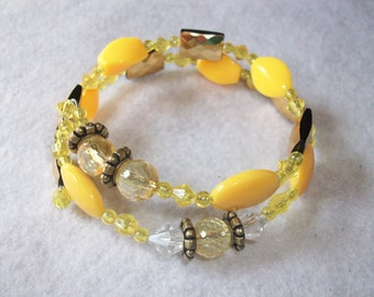 Yellow and Gold Spiral Bracelet