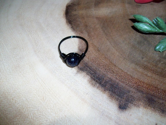 Blue Goldstone 8mm Black Color Wire Wrapped Ring Size 8 1/2