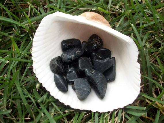 Black Onyx Tumbled Chipstones (2 Stones)