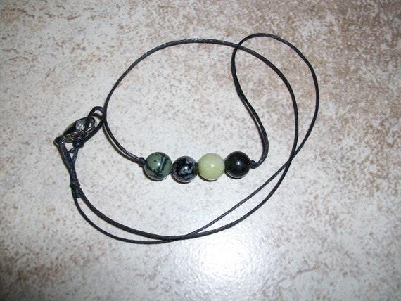 Meditation 8mm Gemstone Bead Choker Style Necklace ~ Kambaba Jasper, Indigo Gabbro Merlinite, Jade and Nuummite