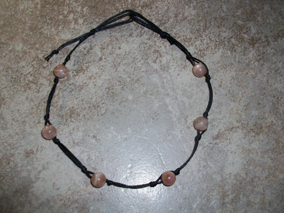 Peach Moonstone Stackable Knotted Anklet