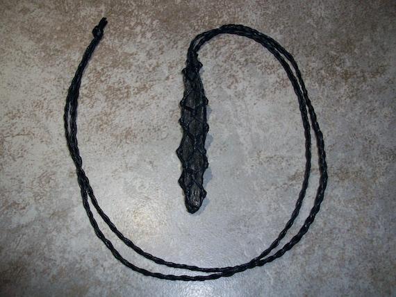 Black Kyanite Spear Braided Necklace