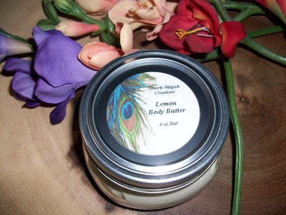 Handmade Lemon Whipped Body Butter 4 oz Jar