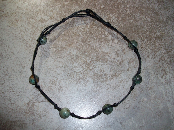 African Jasper Stackable Knotted Anklet