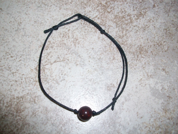 Hematite with Red Jasper 8mm Single Bead Stackable Knotted Bracelet