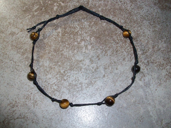 Tiger's Eye Stackable Knotted Anklet