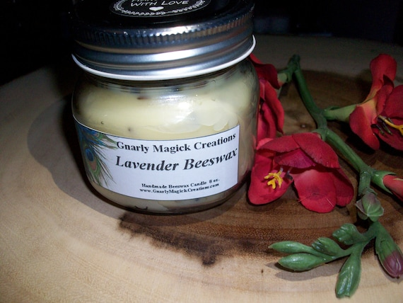 Handmade Lavender Beeswax with Buds 8 oz Jar Candle