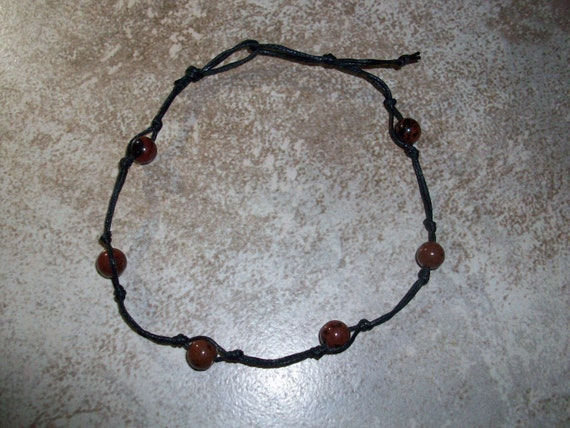 Mahogany Obsidian Stackable Knotted Anklet