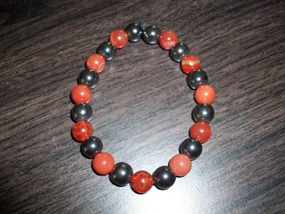 Fire Agate and Hematite 8mm Gemstone Stretch Bracelet