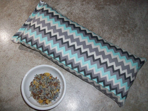 Lavender, Chamomile and Flax Seed Turquoise and Gray Zigzag Pattern Fabric Aromatherapy Eye Pillow