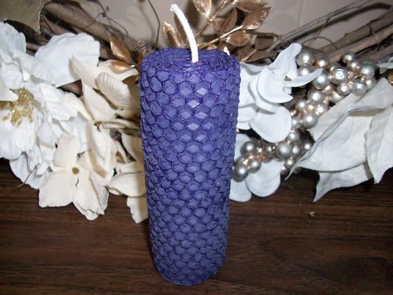Handmade Purple Beeswax 4 inch Candle