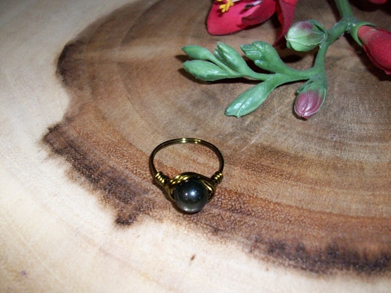 Golden Sheen Obsidian 8mm Antique Bronze Color Wire Wrapped Ring Size 8