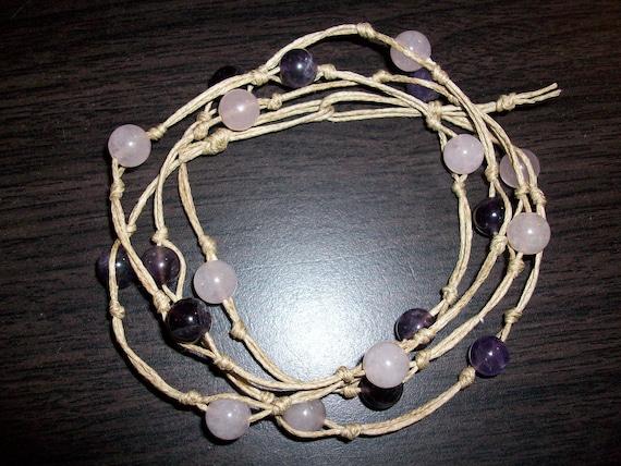 Amethyst and Rose Quartz Mala Bracelet