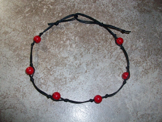 Red Howlite Stackable Knotted Anklet