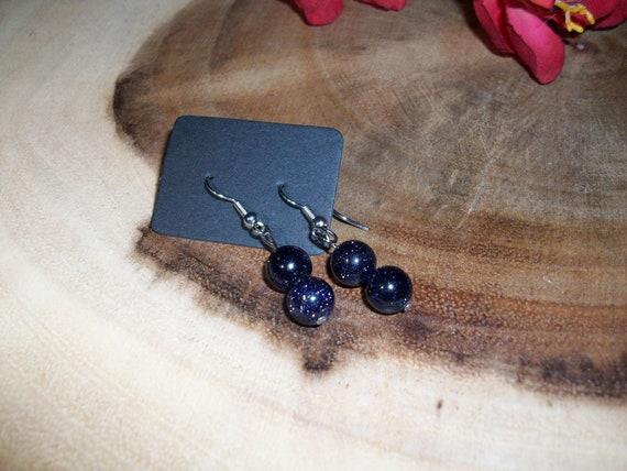 Blue Goldstone Sterling Silver 8mm Gemstone Earrings