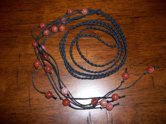 Fire Agate Braided Lariat Necklace