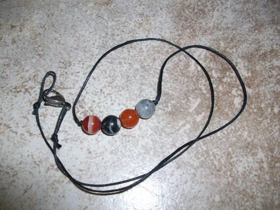 Motivation 8mm Gemstone Bead Choker Style Necklace ~ Carnelian, Zebra Jasper, Orange Aventurine and Labradorite