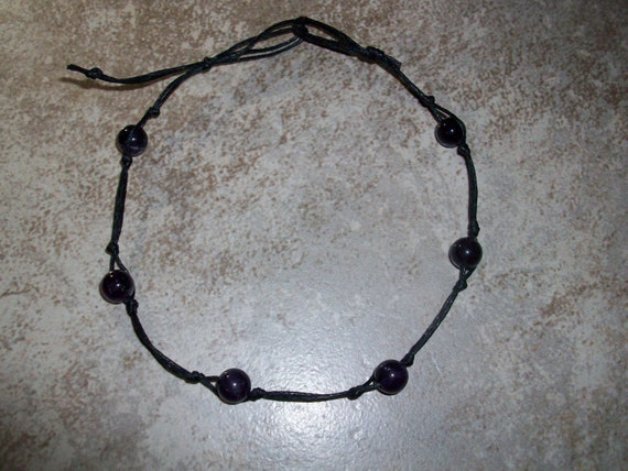 Amethyst 8mm Stackable Knotted Anklet