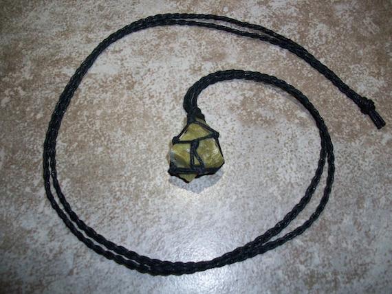 Pistachio Opal Raw Braided Necklace