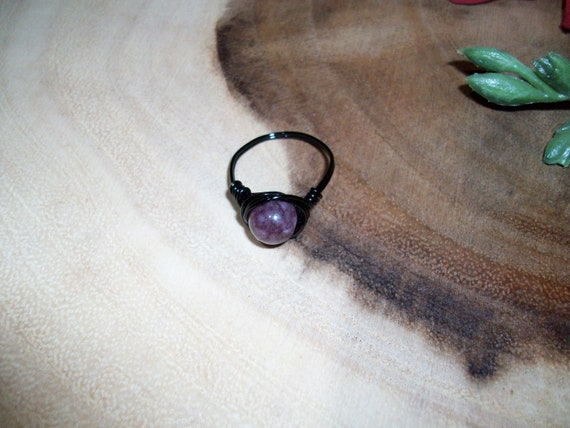 Strawberry Quartz 8mm Black Color Wire Wrapped Ring Size 8