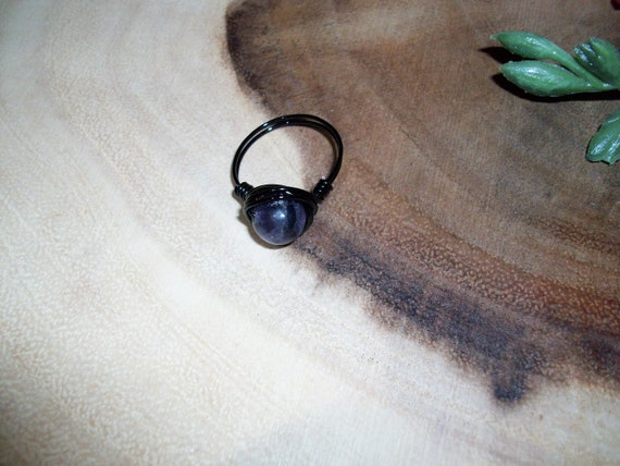 Purple Fluorite 8mm Black Color Wire Wrapped Ring Size 7