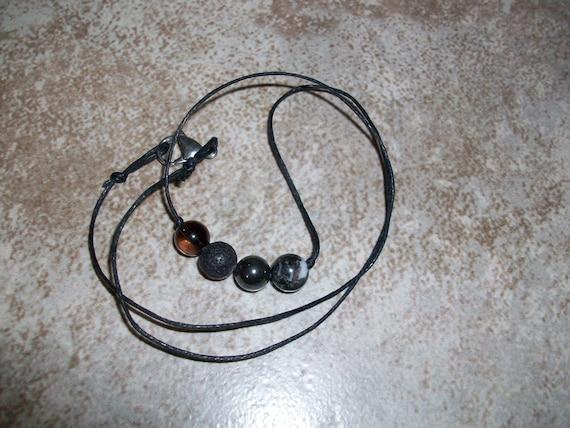 Grounding 8mm Gemstone Bead Choker Style Necklace ~ Smoky Quartz, Black Lava Stone, Hematite and Zebra Jasper