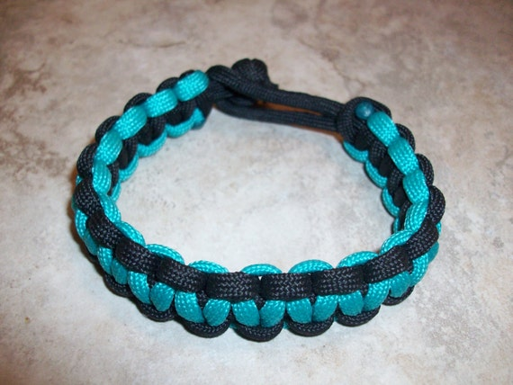 Turquoise and Black Solomon Paracord Bracelet