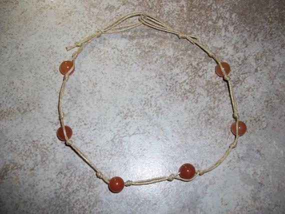 Orange Aventurine Stackable Knotted Anklet