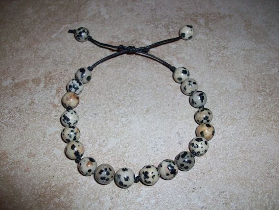 Dalmatian Jasper Slide Knot Bracelet