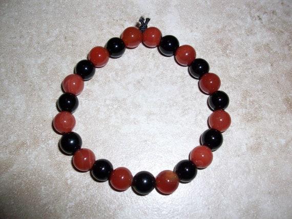 Carnelian and Black Obsidian 8mm Gemstone Stretch Bracelet